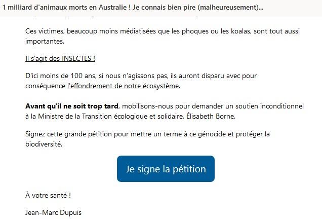 pétition insectes sni